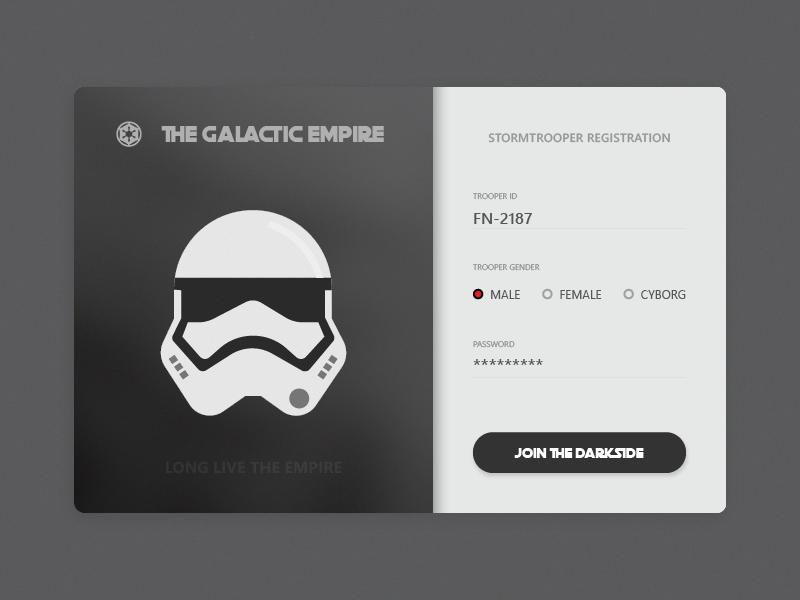 Daily UI #001 Stormtrooper Registration UI stromtrooper force empire starwars web vector design ux ui sign up form dailyui