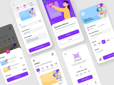 GiftCard Delivery Service gift ui design checkout category card design vector illustration geometric barcode activate basket delivery giftcard mobile application service uiux ux ui