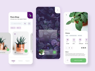 Plant Shop App fittona mobile app light garden leaves leaf plantshop scan flower green gradient design concept clean card application abstract