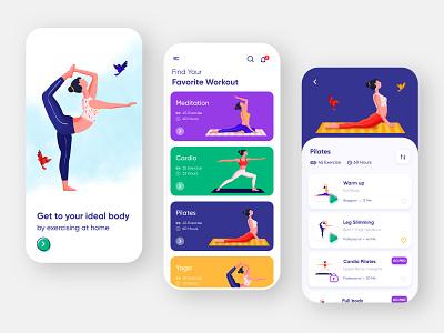 Personal Training App workout exercise application mobile card statistics crossfit illustrator illustraion ios yoga pilates gym sport training fitness ui app design app