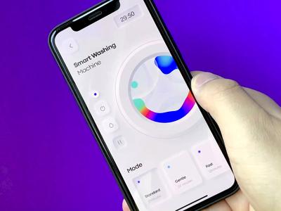 Washing machine 🌀 smarthome blue washing neumorphism clean gif card motion animation dimest app ux ui
