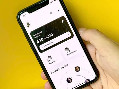 GIVE YOU CASH ! 💵 yellow financial money cash clean card motion animation app dimest ux ui