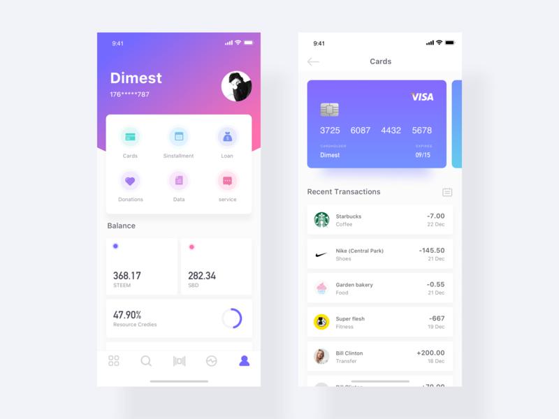 Card design app dimest ux ui