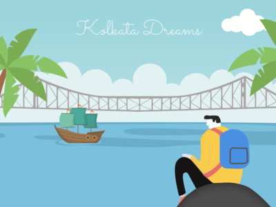 "Best way I imagine my Kolkata Dairy ""What If?"" beach travel howrah india howrahbridge dreams alone illustration kolkata"