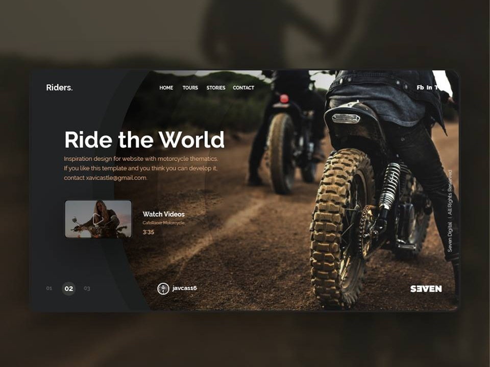 UI Design with motorcycle thematic. design branding web ui