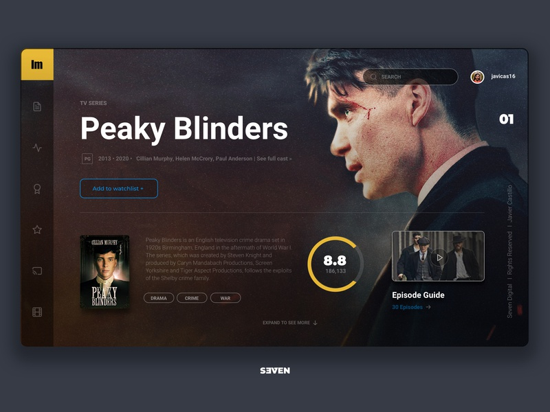 UI Cinematic Design Peaky Blinders ux web branding minimal ui design