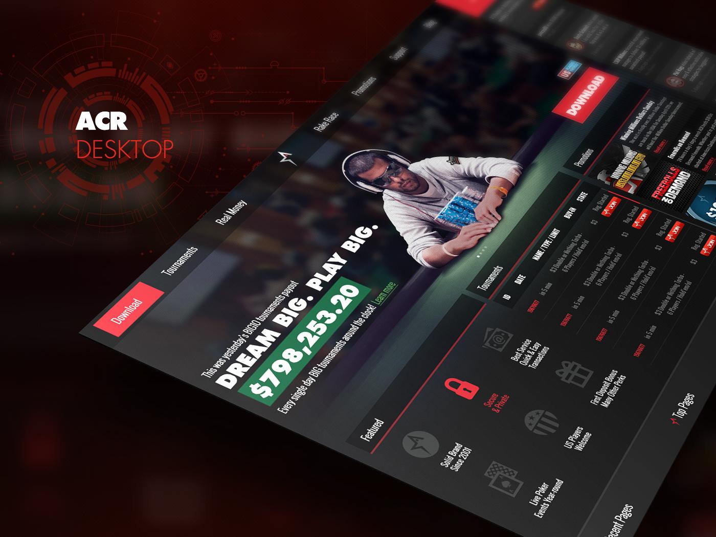 UI America's Cardroom Website ux ui web design branding