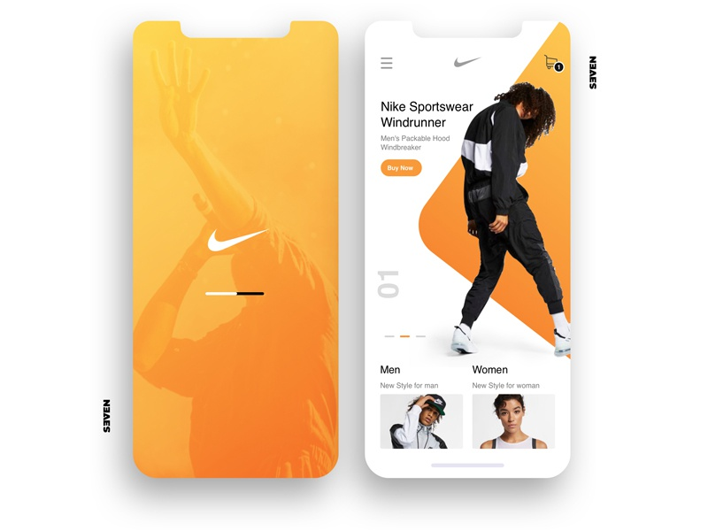 UI Nike Design Sportswear clean mobile ios identity illustrator lettering illustration animation vector typography icon flat app logo website web ux branding ui design