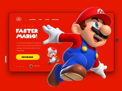 Super Mario Run Web Interfase vector illustration website web ui design