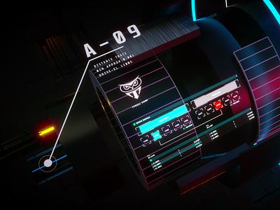 A-09 3d art user interface scifi motion illustraion graphic design fui film development design 3d