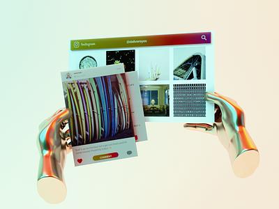 InstagramXR Concept interaction design interface fui socialmedia social app social app illustration 3d ux graphic design ui design
