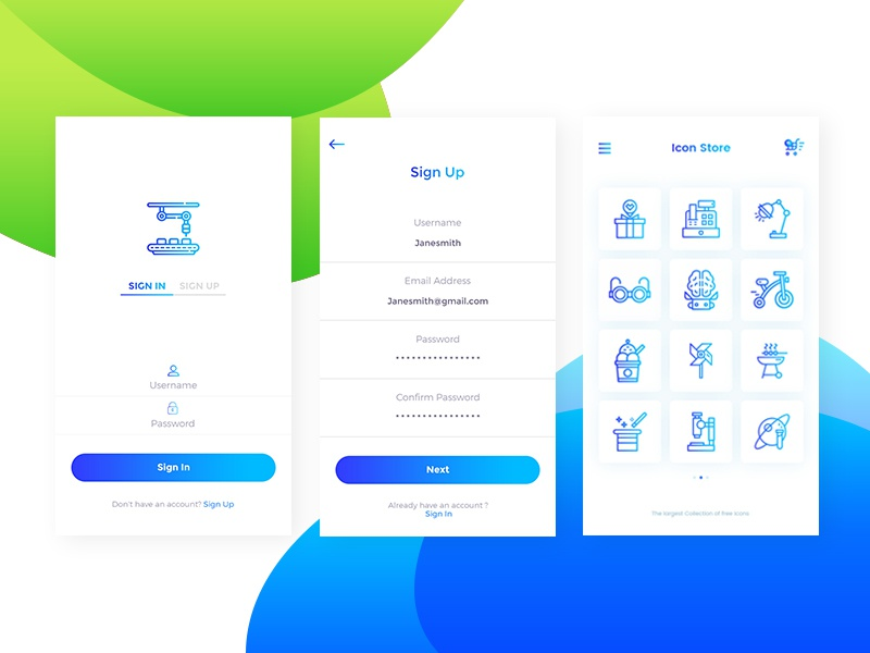 Icon Store Application UI ui-design. interaction icon-pack icon-store design minimal gradient mobile uxui flat-design application icon