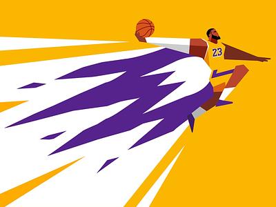 LeBron on fire lakers dunk nba basketball lebron
