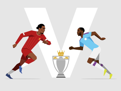 Liverpool v Man City sterling vector illustration football liverpool fc manchester city