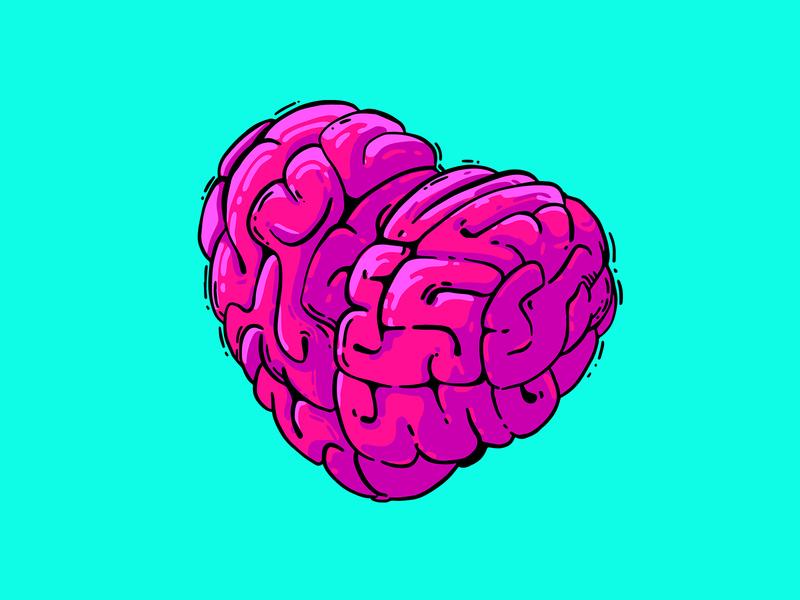 Sapiosexual brain valentine valentines day love heart adobe fresco vector illustration flat