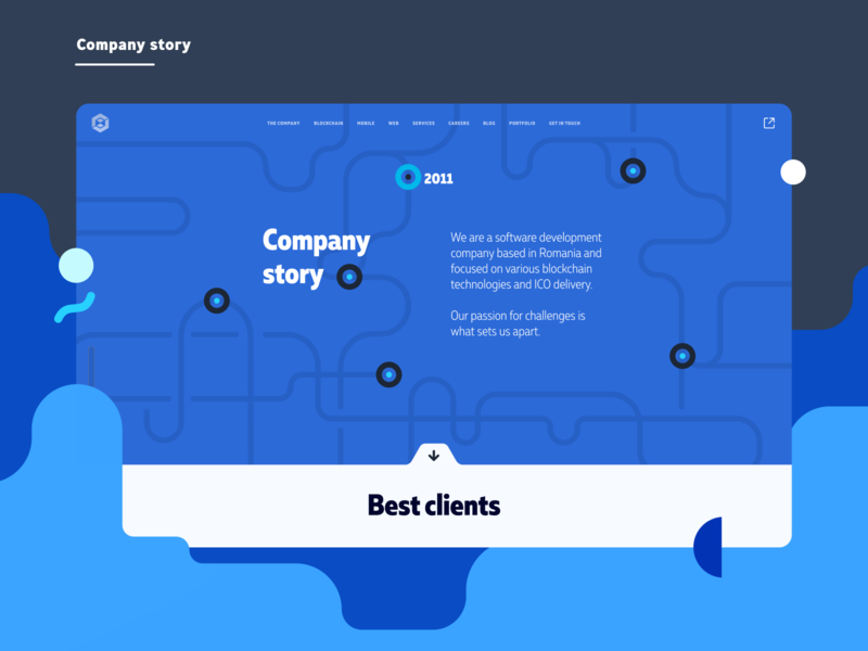 Udevoffice website design - company company page about us abstract hero design blue branding flat illustration vector ui hero section website website design about us page