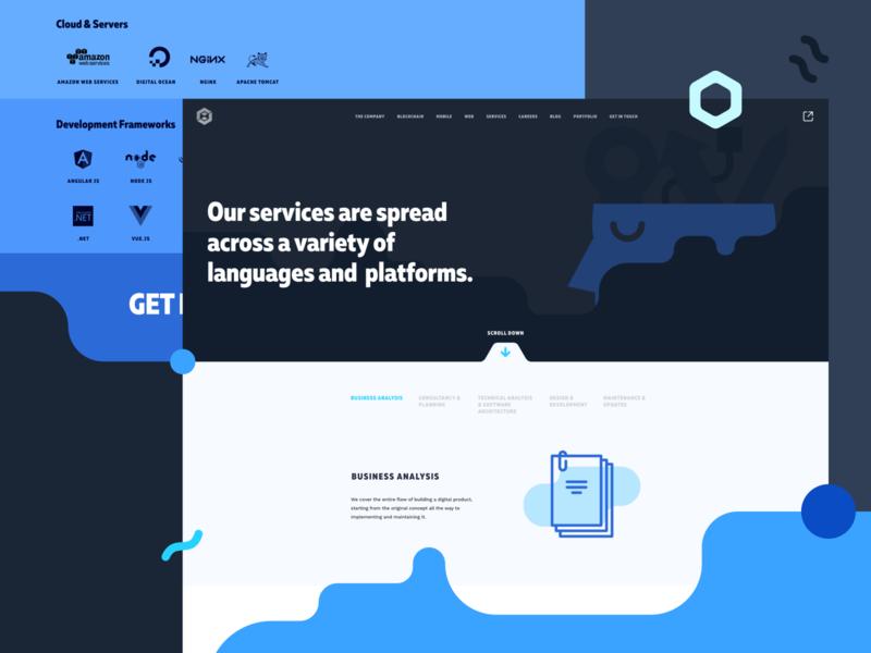 Udevoffice website - Services page portfolio business webdesign design website services page interface vector ui blue website design flat branding hero