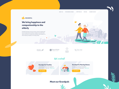 Landing page design landing page design website illustration hero adobe fresco design branding ui vector illustration flat website design website landing page grandpal
