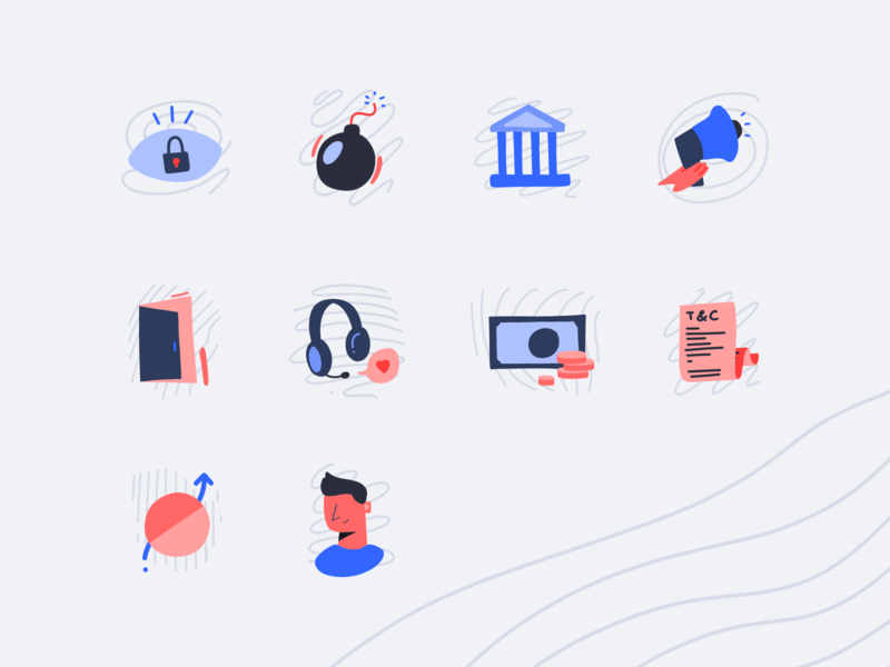 Hand drawn icon set adobe fresco flat illustration vector ui interface icons terms and condition settings security privacy log out icon icons hand drawn design delete account delete creative account hand drawn icons icon set