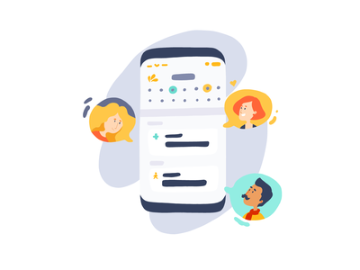 Collaboration - Onboarding app users onboarding illustration app illustration hand drawn avatar calendar mobile app phone app design website design adobe fresco branding design ui vector illustration flat