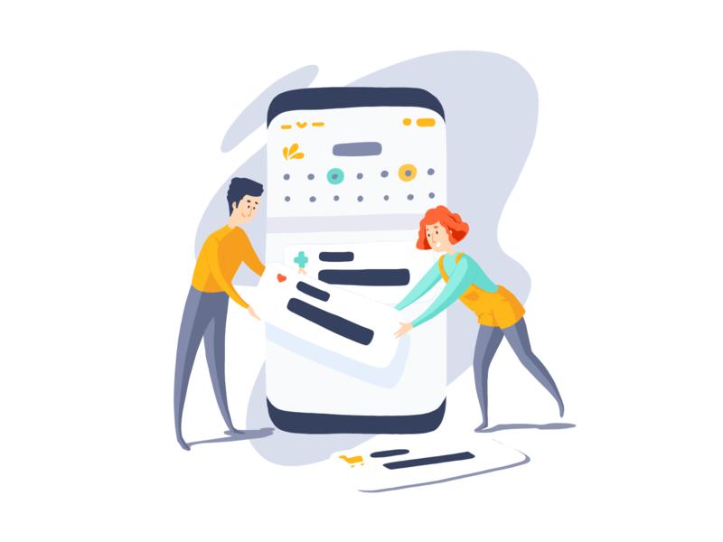 Teamwork - Mobile App illustration icons woman mobile adobe fresco website branding design ui vector illustration flat