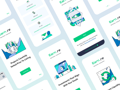 Earn mobile app design onboarding procreate blockchain real estate interface mobile app app ux branding ui design illustration