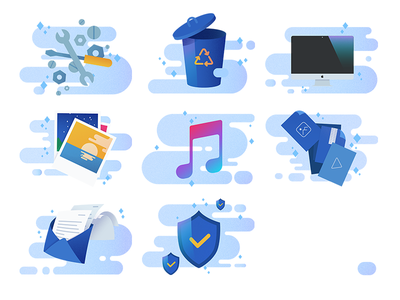 Mac Illustrations shield email pictures tools trash screen files icon cloud icons macbook mac