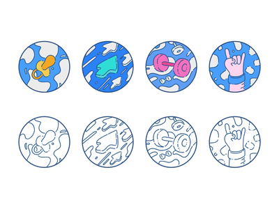 Badges illustrations gamification profile adobe draw vector digital illustration illustration pacifier direction power rock on muscles arrow sketch lineart flat badge design badge