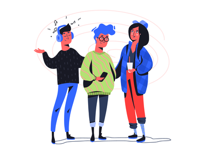 With the help of my friends young ui vector music adobe fresco flat illustration illustration flat teen teenager boy girl guy patterns hair hipster friend friends