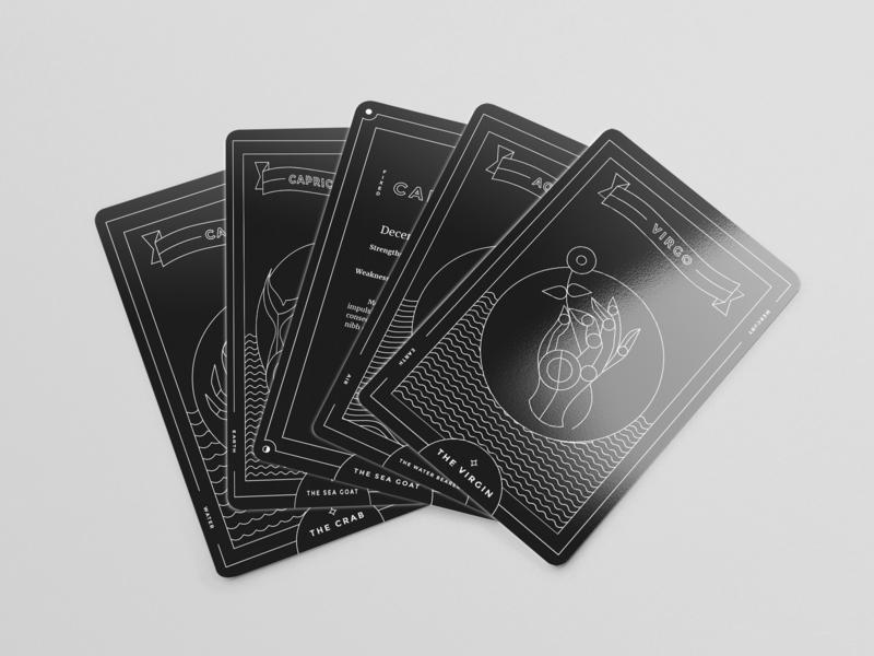 Zodiac Deck deck of cards zodiac line art illustration