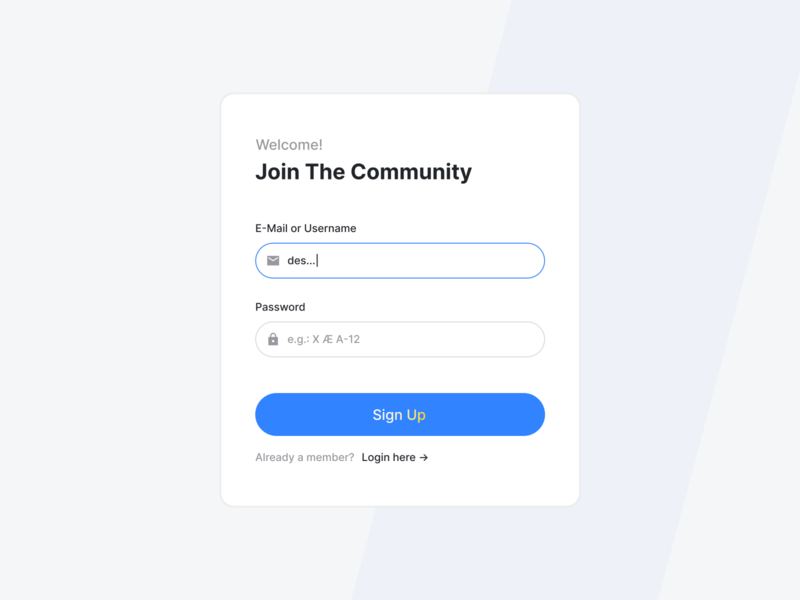 React Playground – Sign Up Screen 🔑 elon musk spacex mars welcome desktop register account sign up log in dailyui github ux react ui