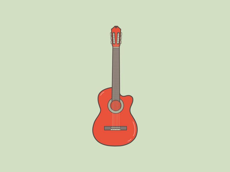 Vintage Guitar Icon vintage pastel illustrator vector
