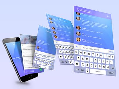 Real-Time Discussion Platform sketch gradients purple blue chat