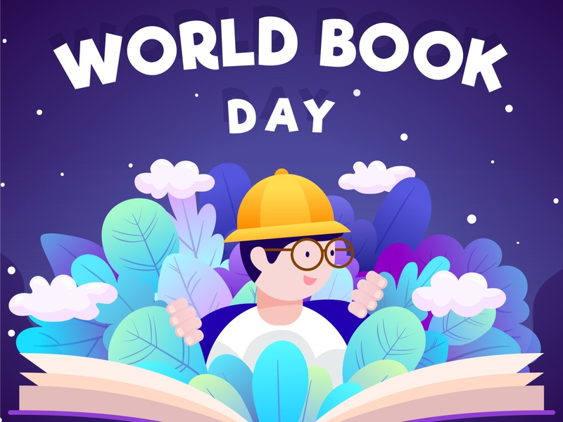 World book day with man reading