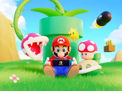 Mario / Switch illustration blender3d c4d