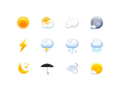 Weather Icons skeuomorphism sun rain wind icon os x mac os smartisan ui photoshop zklm0000