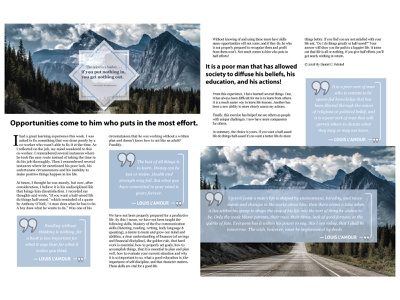 Opportunities Come Editorial Double Spread graphic design