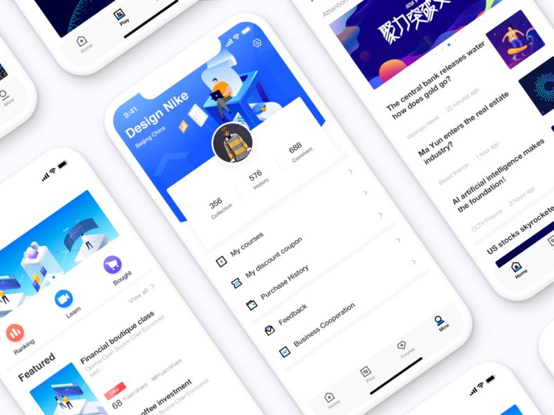 Financial Information App Page Design 卷筒纸 接口 后台 向量 插图 概念 趋势 商标 simple visualization data app financial app 产品 设计 ui