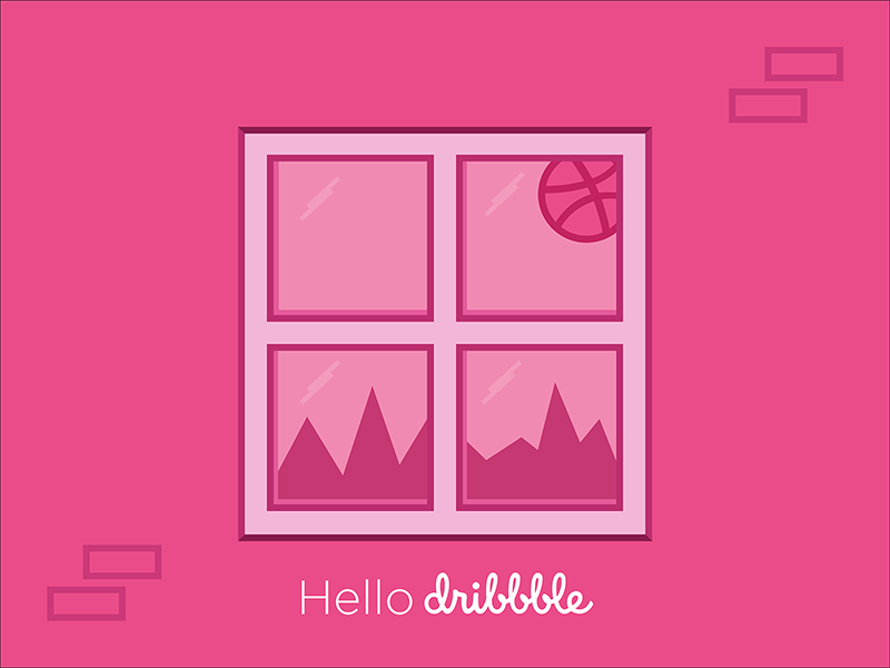 Hello Dribbble reflection window dribbble first shots debut