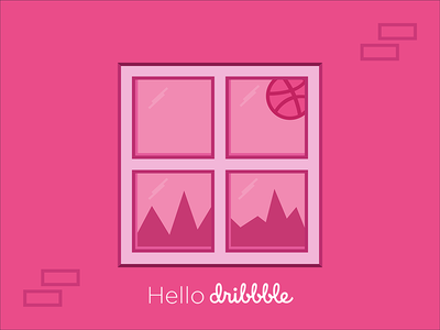 Hello Dribbble reflection window dribbble first shots debut