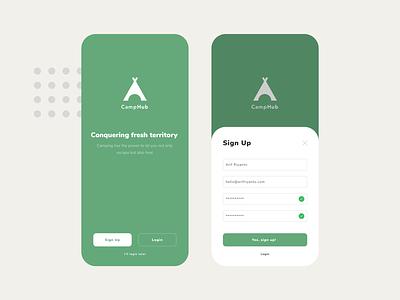CampHub | Camping Social Media App form login sign up register mobile clean apple application app