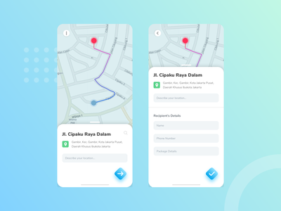 Package Delivery App pinpoint map route service interface delivery app app design mobile application
