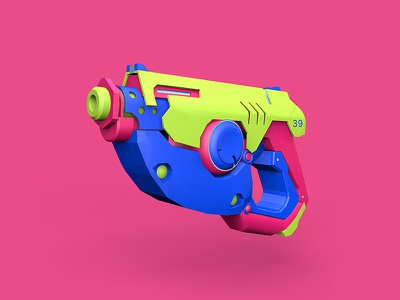 OW/TRACER game overwatch cinema 4d weapon c4d 3d