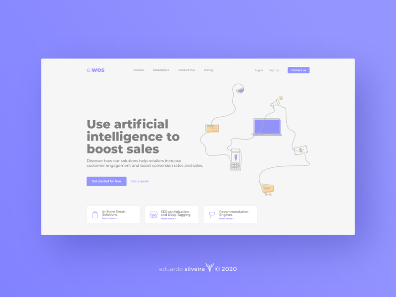 e.wos | artificial intelligence for retail flat web gradient logo ux ui illustration