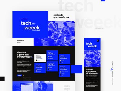 tech weeek | online event tech technology online event typography gradient design midway riachuelo techweeek
