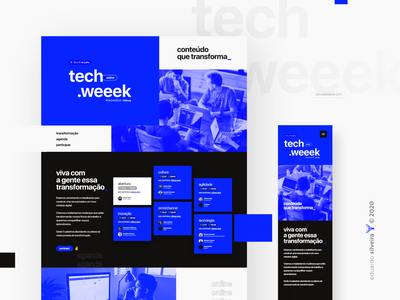 tech weeek | online event tech technology online event typography gradient design midway riachuelo techweeek