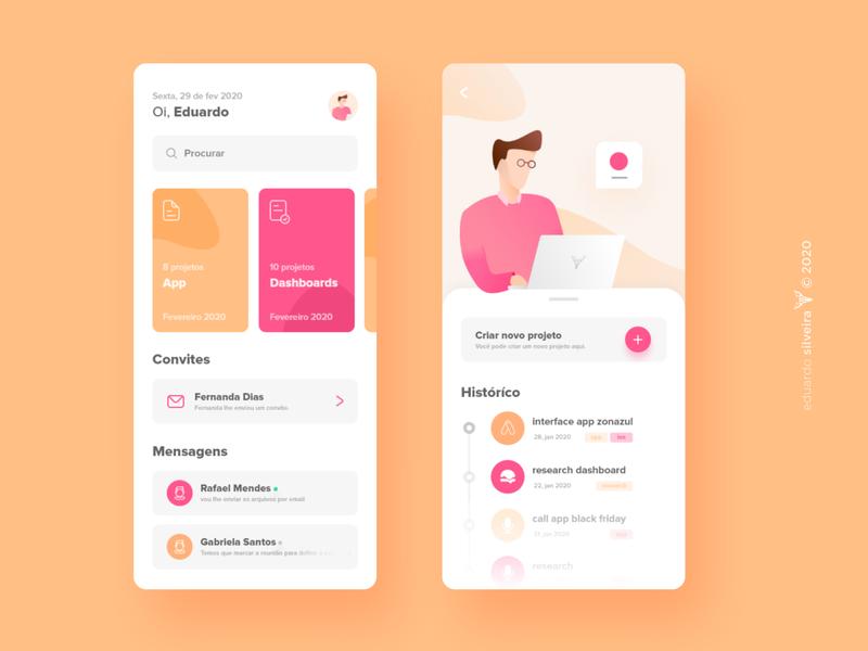 app | personal management vector gradient design flat branding ux ui illustration