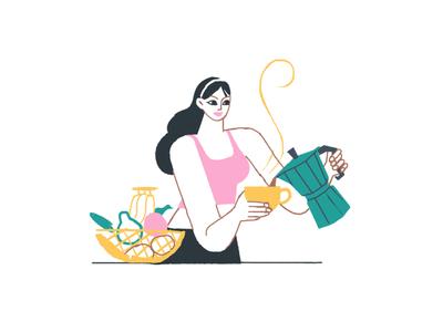 Women+coffee hand drawn handdrawn illustration design flat colours illustration art figureillustration female character drawing cats colours flat illustration