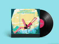 Monday Stretching graphicdesign hand drawn graphic art illustration design flat colours illustration art figureillustration flat drawing colours illustration
