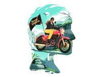Finding your True self. travel bike ride bikers illustration art animation illustration design flat colours figureillustration drawing flat illustration